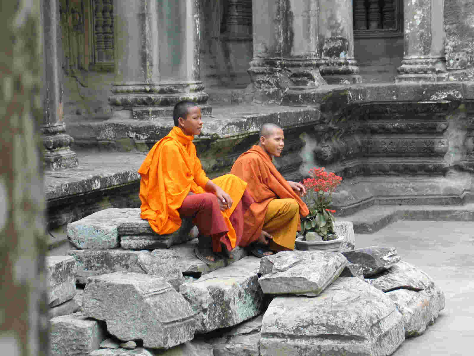 Buddhist Monks inside Angkor Wat