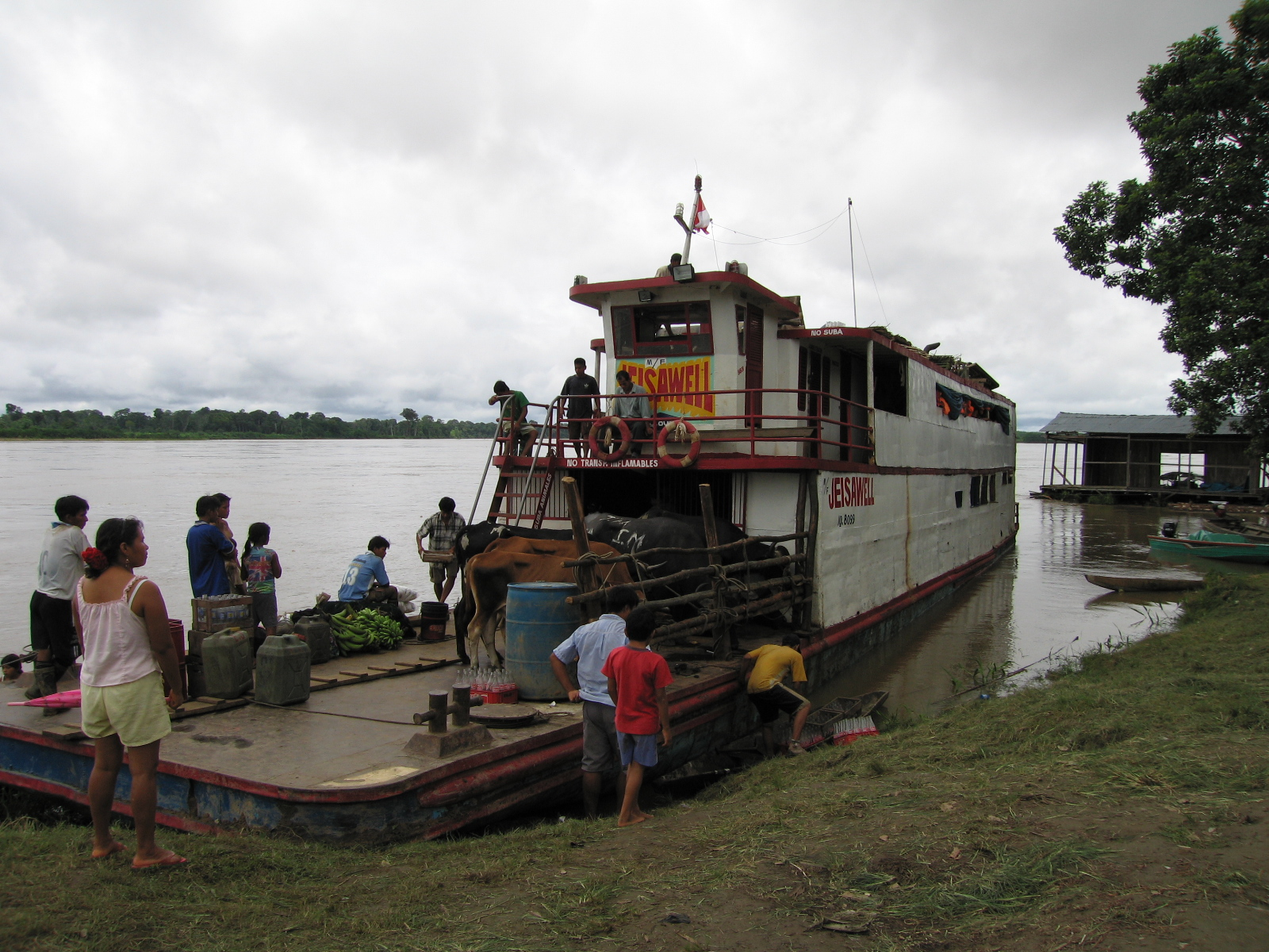 Amazon riverboat on the Rio Napo in Peru