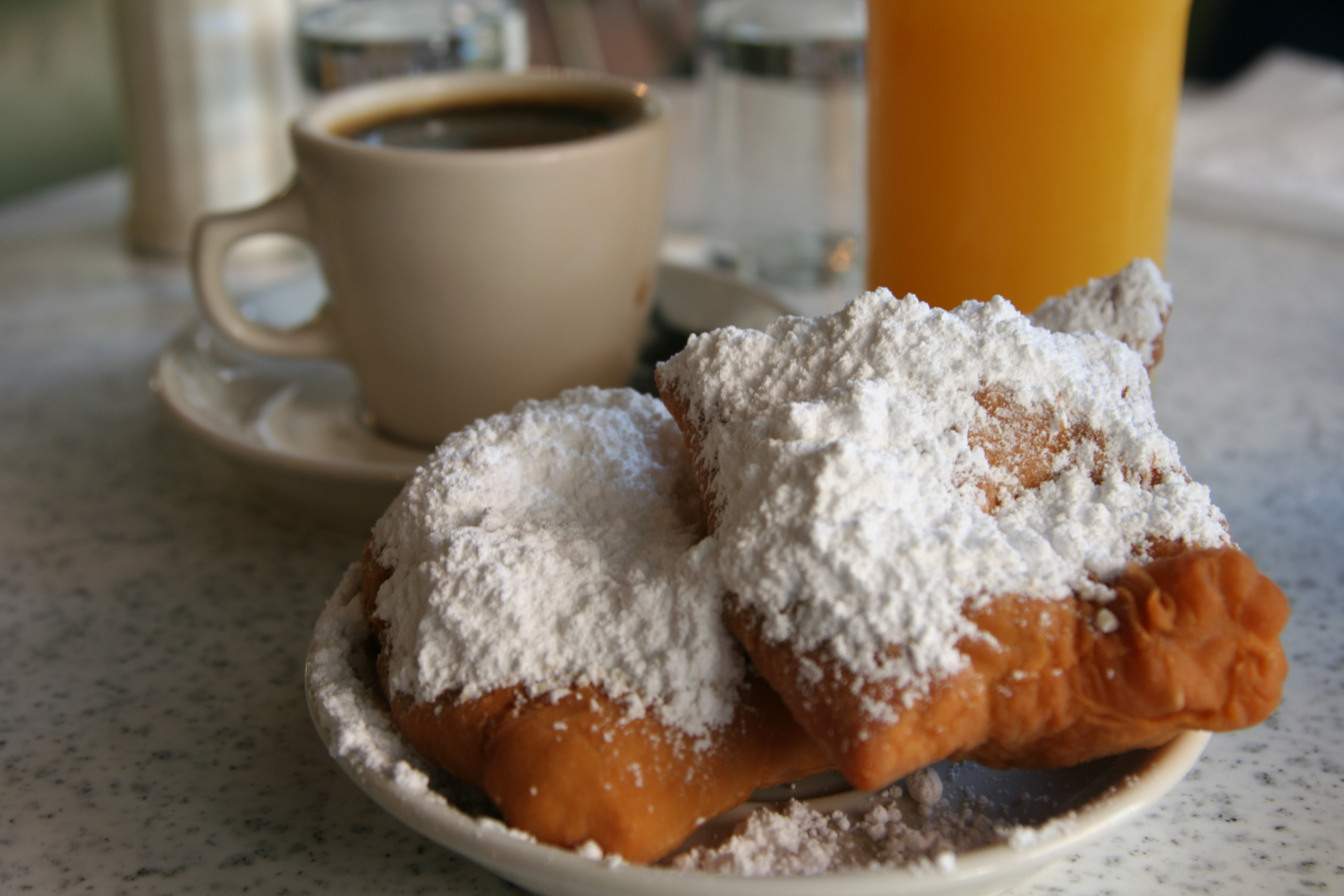 Beignets and coffee at Cafe Du Monde.