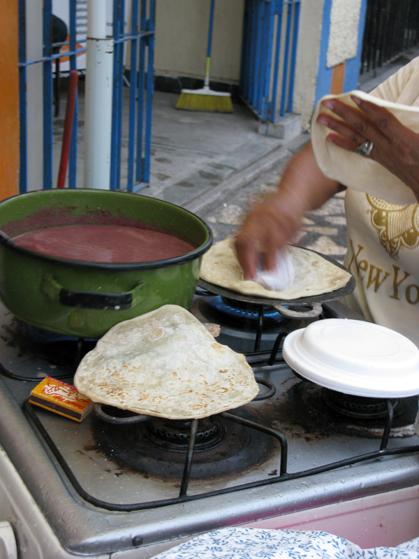 Streetside Baleada Stand in Copan, Honduras