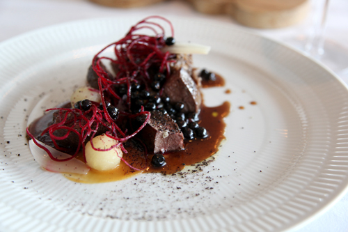 Dill (Reykjavik, Iceland): Wild goose breast and goose legs in beer, beetroot, apples, and crowberry sauce touched with rosemary powder